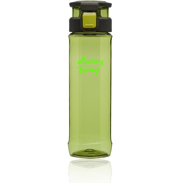 Lime Green Gaia Plastic Water Bottle with Flip Lid and Handle
