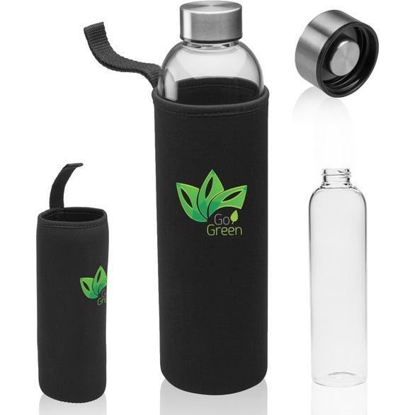 Clear Glass Water Bottle with Carrying Pouch