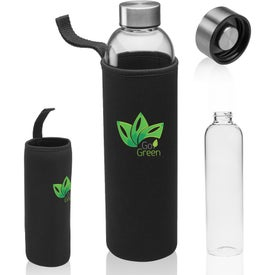 Glass Water Bottle with Carrying Pouch (34 Oz.)