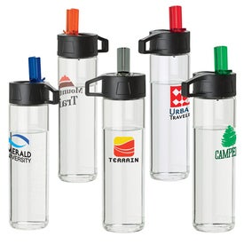Glass Water Bottle with Flip Up Spout