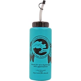 Branded Grip Bottle with Flexible Straw