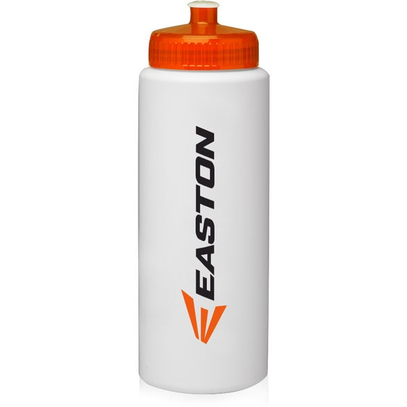 White / Neon Orange HDPE Plastic Sports Water Bottle
