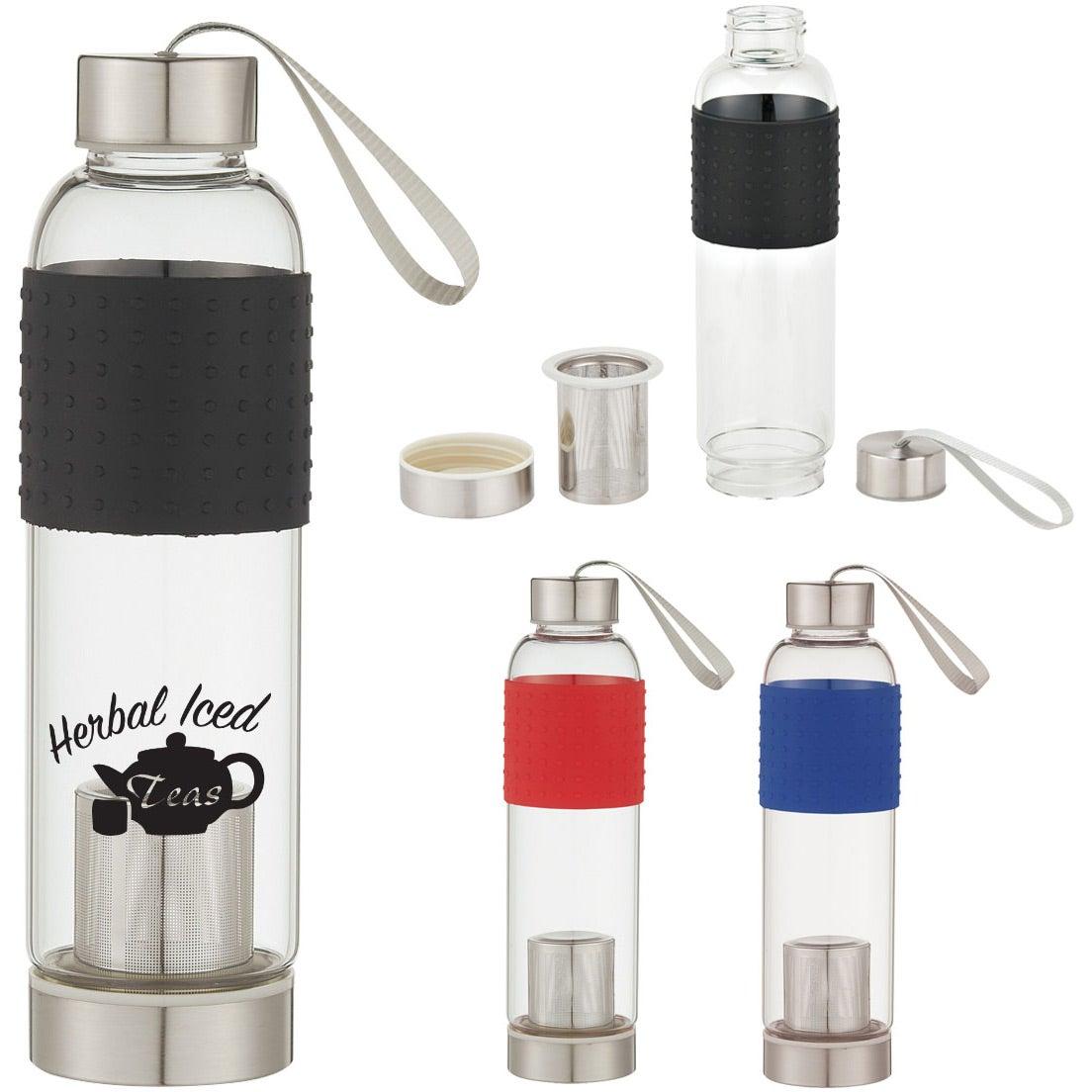 promotional 18 oz infuser glass bottles with custom logo for 8 56 ea