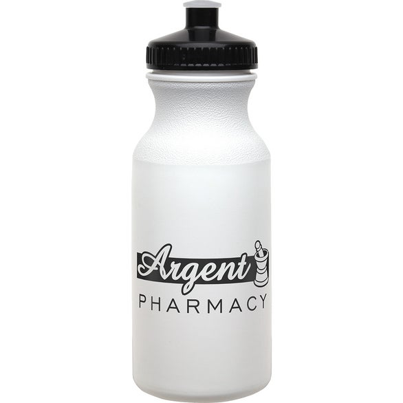 White / Black Jockey Economy Bottle with Push-Pull Lid
