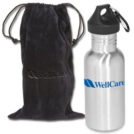 Junior Stainless Bottle with Pouch Imprinted with Your Logo