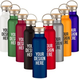 Liberty Stainless Steel Bottles with Wood Lid (21 Oz.)