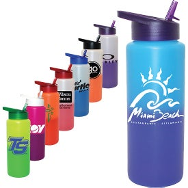 Mood Sports Bottles with Straw Cap Lid (32 Oz.)