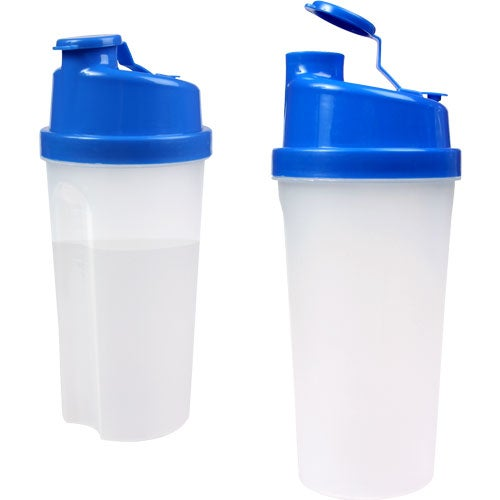 Blue / Frosted Plastic Fitness Shaker with Measurements