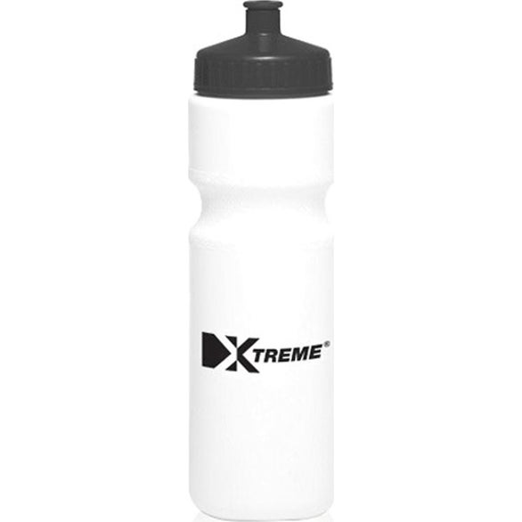 White / Black Plastic Water Bottle with Push Cap