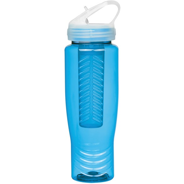 Translucent Aqua Poly-Clean Sports Bottle with Fruit Infuser