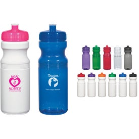 Poly-Clear Fitness Bottle (Translucent and White, 24 Oz.)