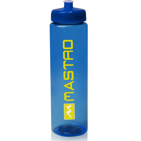 Blue Poly-Clear Plastic Water Bottle