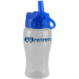 Imprinted Poly Pure Jr. Transparent Bottle with Flip Straw Lid
