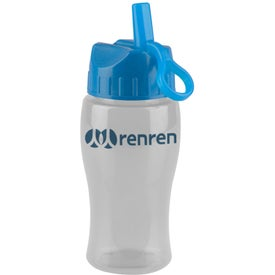 Poly Pure Jr. Transparent Bottle with Flip Straw Lid with Your Logo