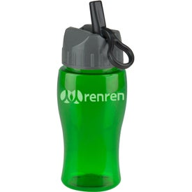 Branded Poly Pure Jr. Transparent Bottle with Flip Straw Lid