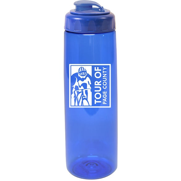 Translucent Blue Poly-Saver PET Bottle with Flip Top Cap