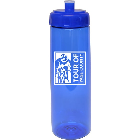 Translucent Blue Poly-Saver PET Bottle with Push 'n Pull Cap