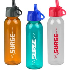 Imprinted Poly-Pure Bottle with Flip Straw Lid