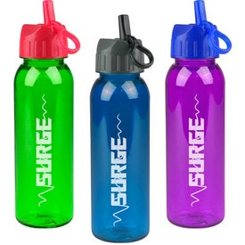 Poly-Pure Bottle with Flip Straw Lid with Your Slogan
