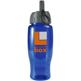 Poly-Pure Travel Bottle with Flip Straw Lid Branded with Your Logo