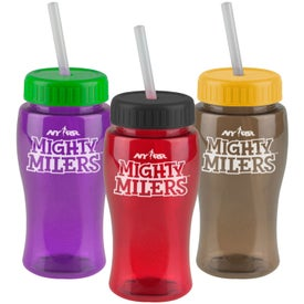 Poly-Pure Junior Bottle w/ Straw Lid with Your Logo