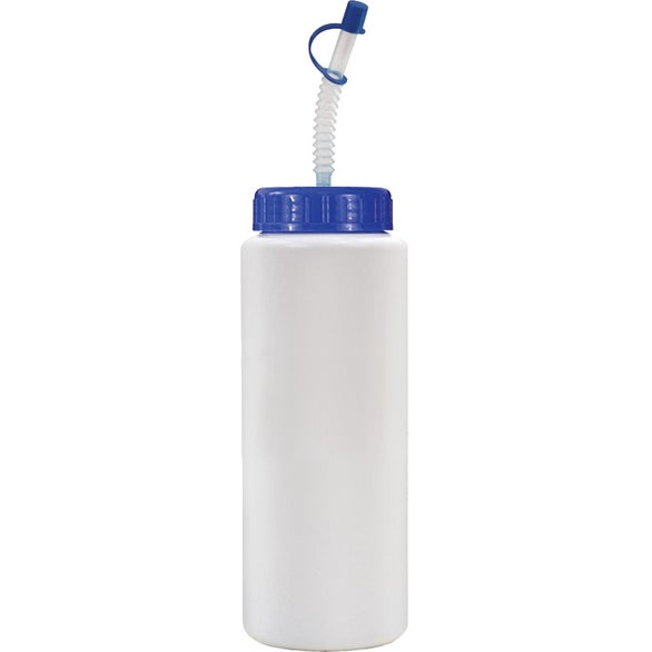 White Sports Bottle with Flexible Straw