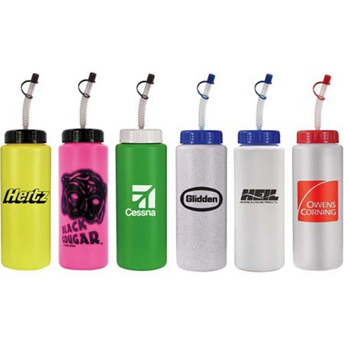 Sports Bottle with Flexible Straw