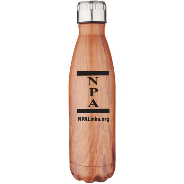 Faux Wood Stainless Steel and Copper Lined Vacuum Faux Wood Bottle