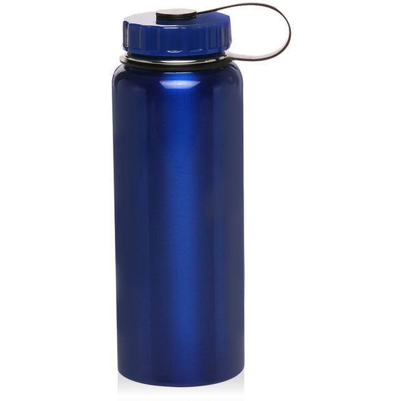 Blue Stainless Steel Sports Bottle with Lid