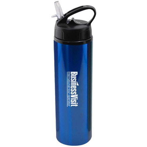 Blue Aluminum Water Bottle with Flip Top Sport Lid