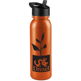 Imprinted Terrain Metalike Bottle with Flip Straw Lid