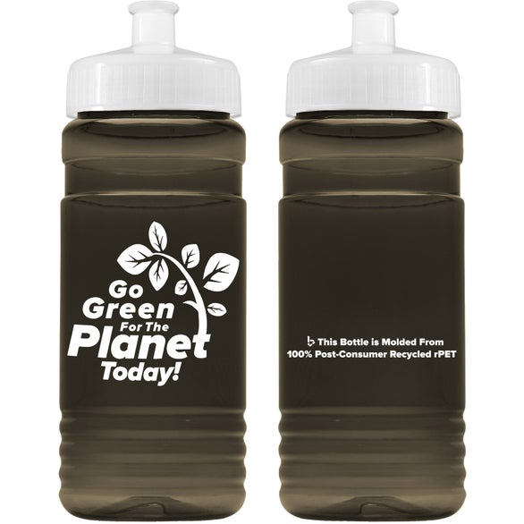 Translucent Smoke Recycled PETE Bottle with Push Pull Lid