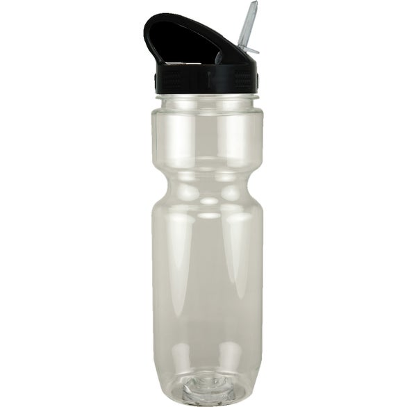 Clear / Black Translucent Bike Bottle with Sport Sip Lid