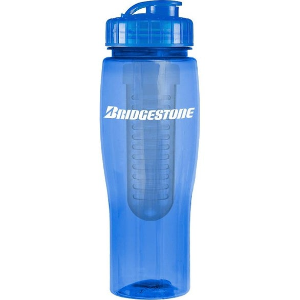 Blue Translucent Contour Bottle with Flip Top Lid and Infuser