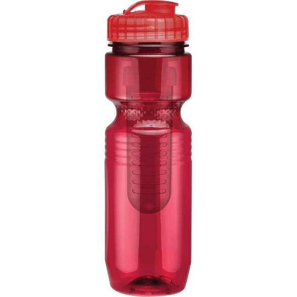 Translucent Red Translucent Jogger Bottle with Flip Top Lid and Infuser