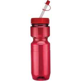 Translucent Jogger Bottle with Straw Tip Lid with Your Slogan