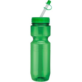 Imprinted Translucent Jogger Bottle with Straw Tip Lid