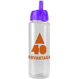 Branded Transparent Guzzler Bottle with Flip Straw Lid