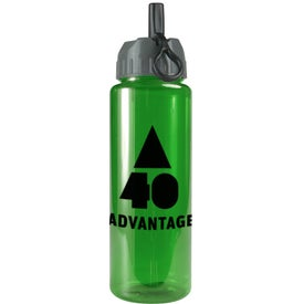 Branded Transparent Guzzler Bottle with Flip Straw Lid