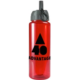 Transparent Guzzler Bottle with Flip Straw Lid with Your Slogan