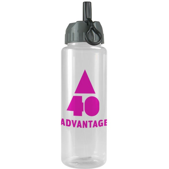Transparent Guzzler Bottle with Flip Straw Lid