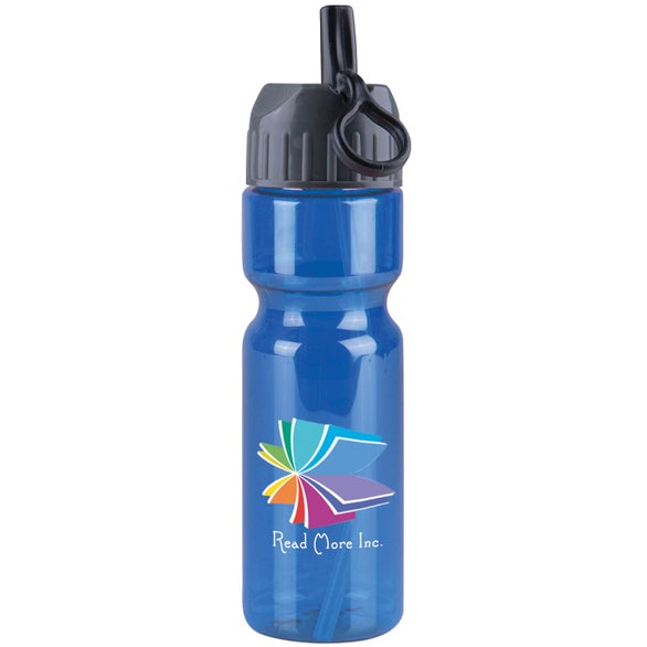 Transparent Blue Transparent Olympian Bottle With Flip Straw Lid