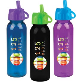 Logo Tritan Bottle With Flip Straw Lid