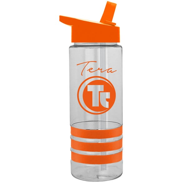 Clear Tritan Sergeant Stripe Bottle with Flip Straw Lid