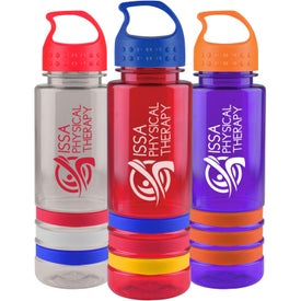 Personalized Tritan Stripe Bottle with Crest Lid