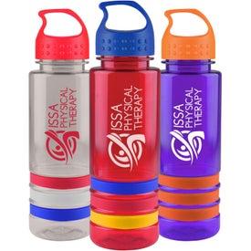Personalized Tritan Stripe Bottle with Crest Lid