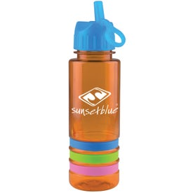 Logo Tritan Stripe Bottle with Flip Straw