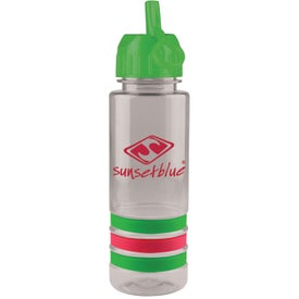 Tritan Stripe Bottle with Flip Straw for Advertising