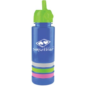 Customized Tritan Stripe Bottle with Flip Straw