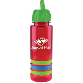 Advertising Tritan Stripe Bottle with Flip Straw